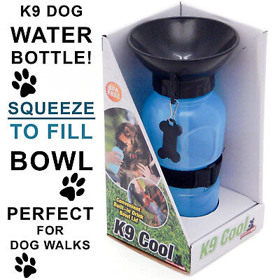 PORTABLE WATER BOWL BOTTLE Built in Pet Walk Dog Drink Squeeze Plastic 590mls
