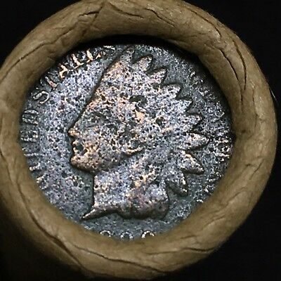 Old Estate! Wheat Head Penny Roll!!! Rare 1890 Indian Head Showing On End!! R407