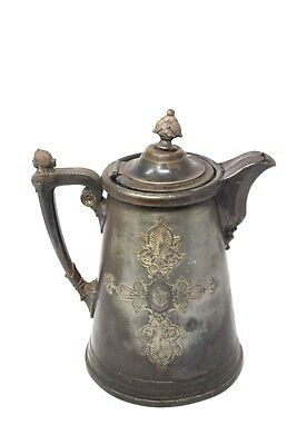 """Huge ANTIQUE ORNATE VICTORIAN ICE WATER PITCHER c. 1850, 13"""" in Height"""