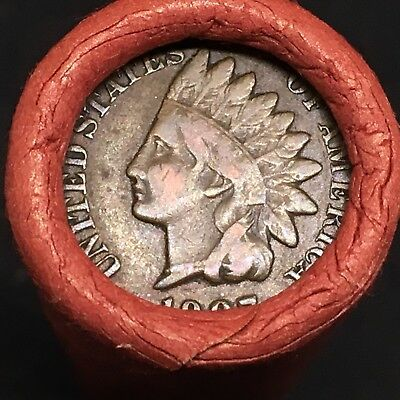 Old Estate Mixed Wheat Penny Roll!!! Fine 1907 Indian Head Showing On End!! R411