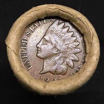 Old Estate! Wheat Head Penny Roll!!! Rare 1907 Indian Head Showing On End!! R412