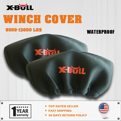 X-BULL Winch Cover Waterproof Soft Dust Cover  2PCS Fit 9500-13000LBS  Winch