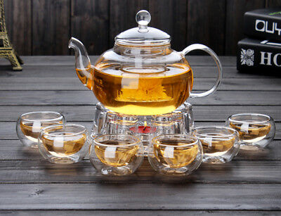 High Borosilicate glass Tea Pot Set Infuser Coffee Tea Leaf Herbal 6 Cups Warmer