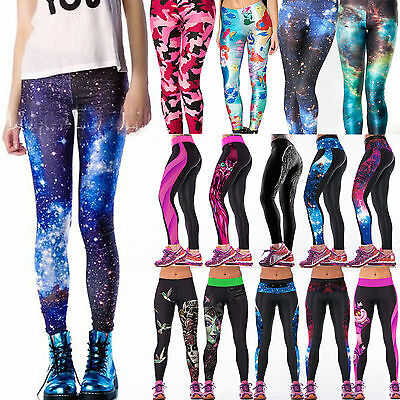 Women Galaxy Yoga Gym Fitness Leggings Running Sport Stretch Pants Slim Trousers