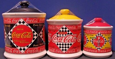 Set Of 3 Coca Cola Red Yellow Black Diner Style Kitchen Canisters Enesco