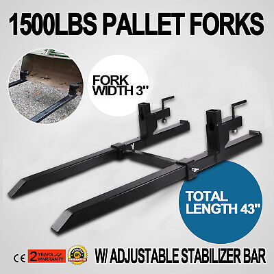 Clamp on Pallet Forks w/ Stabilizer Bar 1500lb Tractor Skidsteer Chain Pro