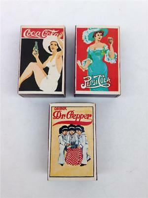 Lot of 3 Vintage Coca Cola Pepsi Cola & Dr. Pepper Wood Match Boxes - Japan