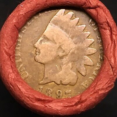 Old Estate! Wheat Head Penny Roll!!! Rare 1897 Indian Head Showing On End!! R431