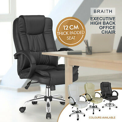 NEW Executive High Back Office Chair Premium PU Leather Recliner Computer Padded