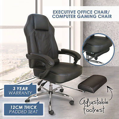 Executive Office Computer Gaming Chair Recliner Seat PU Leather Footrest Lumbar