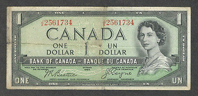1954 DEVIL'S FACE BROKEN LADDER $1.00 BC-29b F RARE 1234567 Canada DF One Dollar