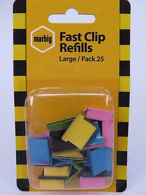 25 x Large Fast Clip Refill Assorted Colours Nalclip 50 Sheets Marbig 87098