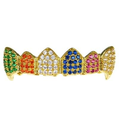 Fang Grillz 18k Gold Plated CZ Multi-Color Clown Top Teeth Bling Rainbow Fangs