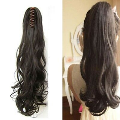 Claw Thick Wavy Curly Ponytail Long Layered Pig Tail Clip In On Hair Extensions~