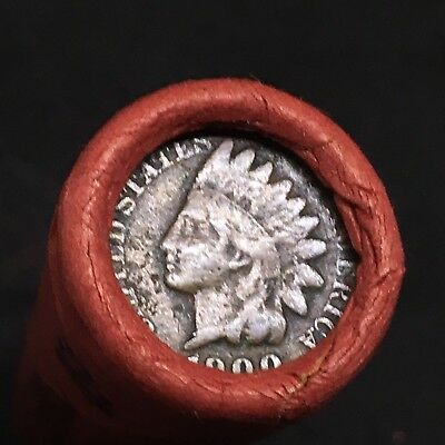 Old Estate! Wheat Head Penny Roll!!! Rare 1900 Indian Head Showing On End!! R445