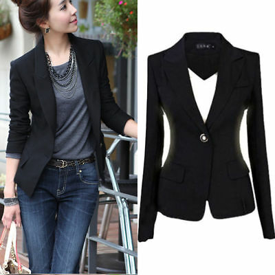 Ladies SMART Sottile Blazer Da Donna manica lunga Giacca Top Casual Outwear