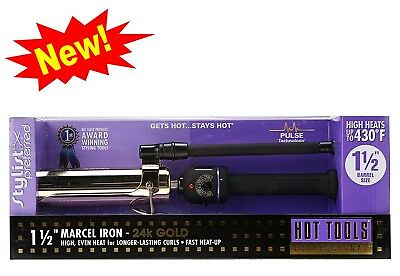 "NEW Hot Tools Professional 1-1/2"" Gold Marcel Hair Curling Iron # 1182"
