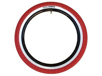 2x (PAIR) Mirraco Vise BMX Tyres with Fitted Tube - 20 x 2.3 Red / Whitewall