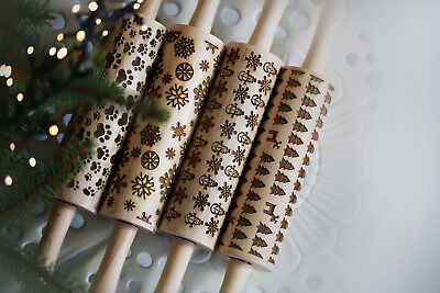Engraved Wooden Rolling Pin Christmas New Year Pattern