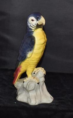 "Antique Tuscan China Blue & Yellow Parrot Figurine on Stump 9.5""H - Excellent"