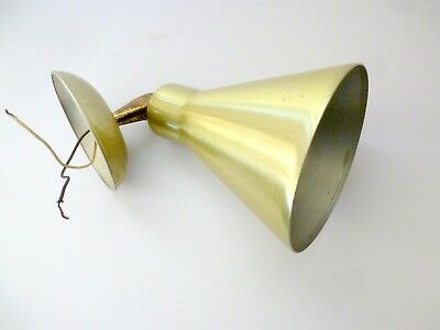Vintage Gold Aluminum Wall Swivel Sconce Cone Mid Century Modern