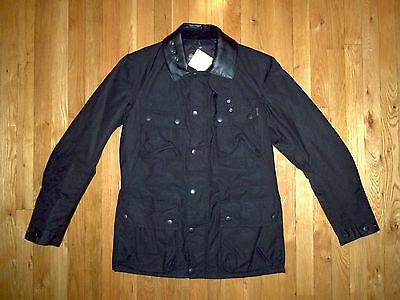 """BARBOUR SOLID BLACK M """"SURTEES"""" WAX COTTON MOTORCYCLE JACKET w/ LEATHER COLLAR"""