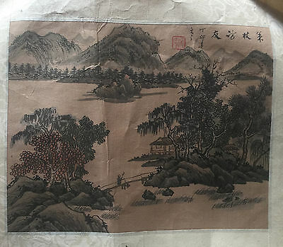 Original Antique  Signed Watercolor  Chinese  silk painting , Landscape