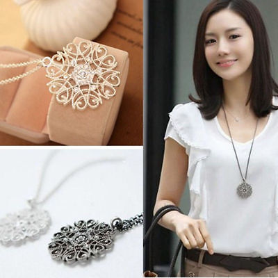 Women New Pierced Pattern Crystal Rhinestone Round Long Chain Pendant Necklace
