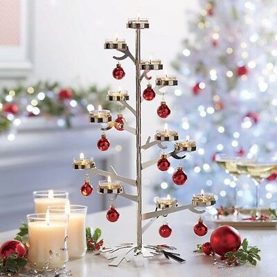 PartyLite Silver Snowflake Tealight Candle Tree Centerpiece - NIB - HOLIDAY