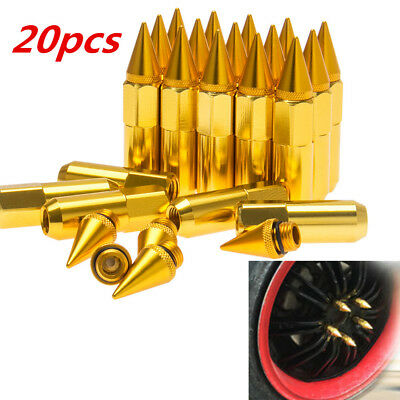 20Pcs CNC M12X1.5 60mm Aluminum Spike Tuner Extended Lug Nuts Wheels Rims Golden