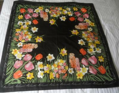 Vintage Polyester Souvenir Scarf Square Holland Spring Bulbs Tulips 79 X 778 Cm