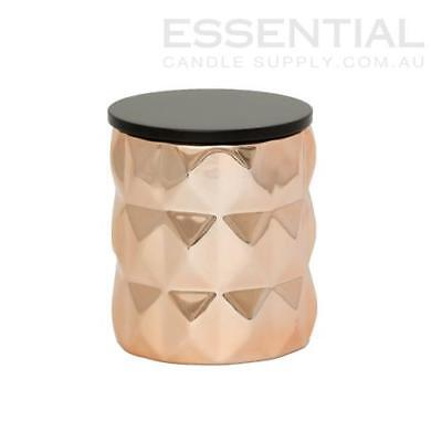Rose Gold Geo Ceramic Candle Jar - 300ml x36