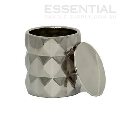Silver Geo Ceramic Candle Jar - 300ml x1