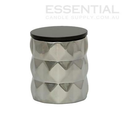 Silver Geo Ceramic Candle Jar - 300ml x36