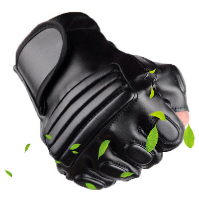 Leather Fingerless Padded Gloves Bikers Tactical Security Special Opps
