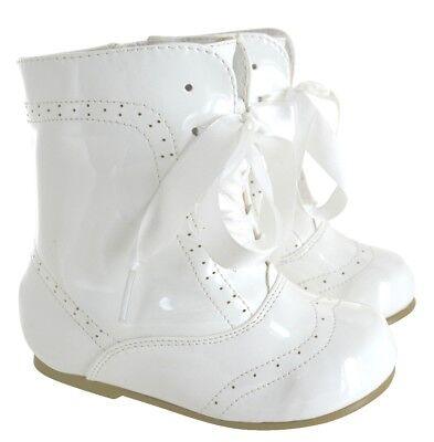 Girls Kids Baby Infants Patent Romany Style Bridal Party Ankl Boots Shoes Sz 3-8