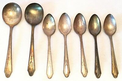 7pc c.1931 1881 Rogers KESWICK Silverplate Mixed Spoon or Flatware Lot - ONEIDA