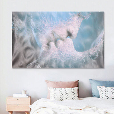 Blue Love Kiss Abstract Canvas Print Wall Art Painting Picture Poster Home Decor