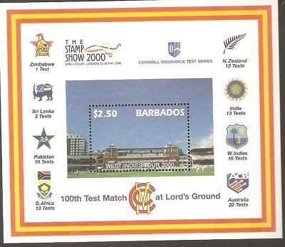 2000   BARBADOS  -  SG  MS  1170  -  100th TEST MATCH AT LORDS GROUND   -  UMM