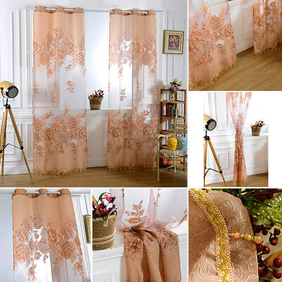 NEW Hotel Decor Peony Window Yarn Curtain Bedroom Living Room Curtain
