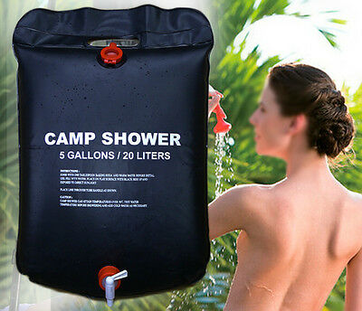 Portable 20L Solar Camping Shower Outdoor Hiking Heated Bathing Water Bag SPT