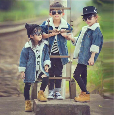 Kids Girls Boys Baby Autumn Winter Denim Jeans Hoodies Coat Jacket Outwear Top
