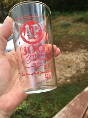 Vintage A&p Grocery Store Advertising 8Oz Measuring Cup/glass
