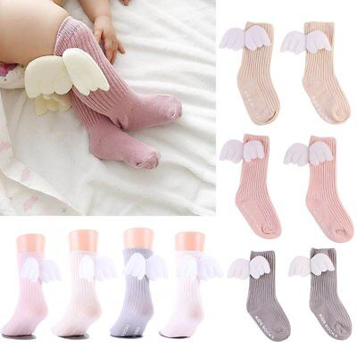 Angel Wings Fashion Kids Girls Stocking Knee Socks Baby Boys Princess Tube Socks