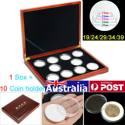 10 Coins Oak Rectangle Box Storage Case Holder NGC PCGS Grade Display Collection