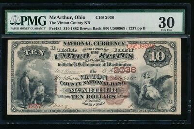 Highest Grade!  McArthur Ohio 1882 BB $10  ONLY 2 on Census