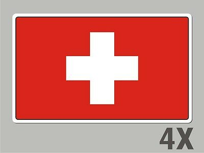 4 Switzerland Swiss stickers flag decal bumper car bike emblem vinyl FL077
