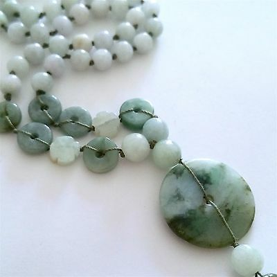 ***lovely Vintage Natural Jade Jadeite Necklace With Round Pendant, 20""