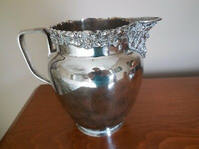 GREAT c1930 ENGLISH SILVER PLATE BACCHUS HEAD FIGURAL BEER ALE WINE PITCHER JUG