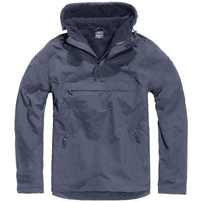 Brandit Navy Windbreaker Hooded Weather Proof Fleece Lined Anorak Jacket